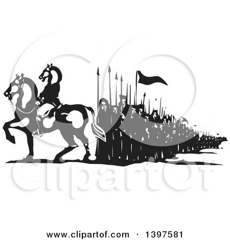 Clipart of a Black and White Woodcut Mounted Horse Headed Man and Line of People - Royalty Free Vector Illustration by xunantunich