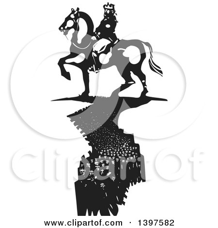 Clipart of a Black and White Woodcut Horseback King with a Crowd of People like a Shadow Below Him - Royalty Free Vector Illustration by xunantunich