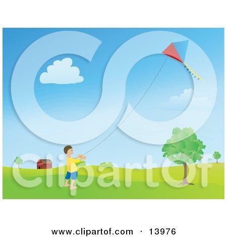 Happy Little Boy Flying a Kite Near a Barn Posters, Art Prints