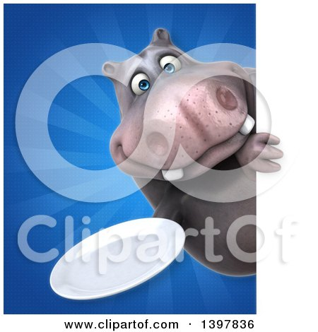 Clipart of a 3d Henry Hippo Character Holding a Plate - Royalty Free Illustration by Julos