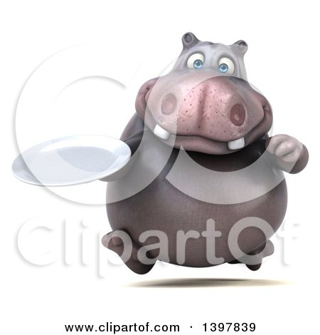 Clipart of a 3d Henry Hippo Character Holding a Plate, on a White Background - Royalty Free Illustration by Julos