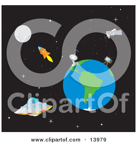 the Moon, Rocket, Satellites, Earth and UFO in Outer Space Clipart Illustration by Rasmussen Images