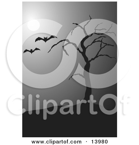 Two Vampire Bats Flying Past a Bare tree in the Moonlight on a Foggy Night on Halloween Clipart Illustration by Rasmussen Images