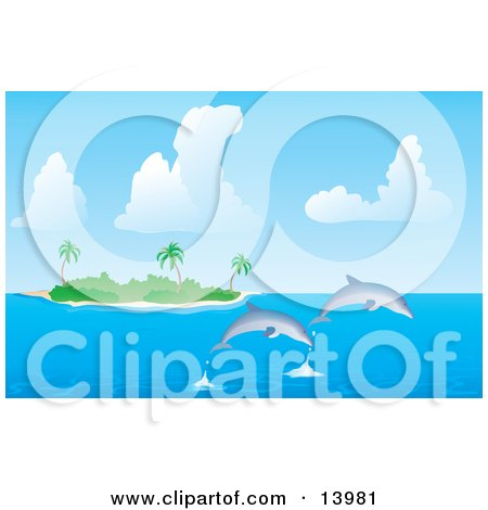 Two Dolphins Jumping Out of the Water Near a Tropical Island With Palm Trees Clipart Illustration by Rasmussen Images