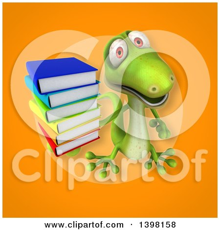 Clipart of a 3d Green Gecko Lizard Holding Books - Royalty Free Illustration by Julos