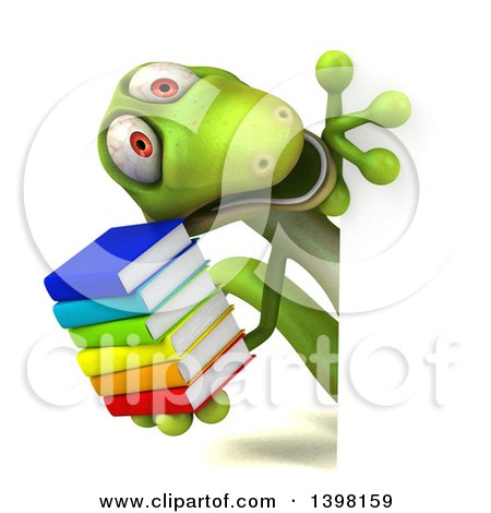 Clipart of a 3d Green Gecko Lizard Holding Books, on a White Background - Royalty Free Illustration by Julos