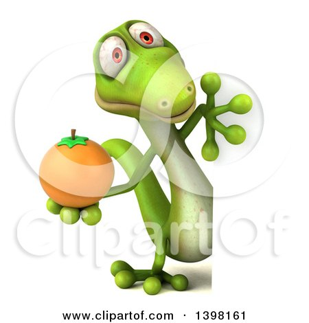 Clipart of a 3d Green Gecko Lizard Holding a Navel Orange, on a White Background - Royalty Free Illustration by Julos