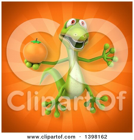 Clipart of a 3d Green Gecko Lizard Holding a Navel Orange - Royalty Free Illustration by Julos