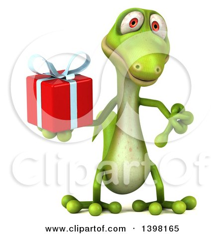 Clipart of a 3d Green Gecko Lizard Holding a Gift, on a White Background - Royalty Free Illustration by Julos