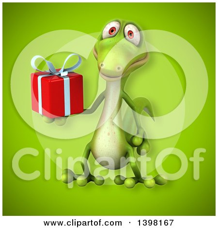 Clipart of a 3d Green Gecko Lizard Holding a Gift - Royalty Free Illustration by Julos