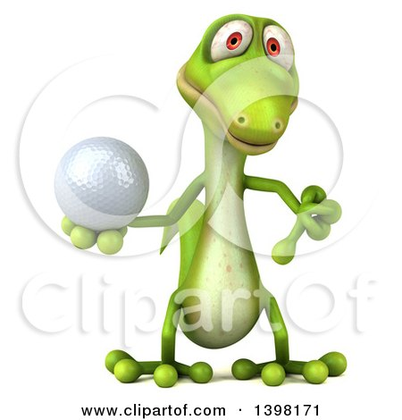 Clipart of a 3d Green Gecko Lizard Holding a Golf Ball, on a White Background - Royalty Free Illustration by Julos