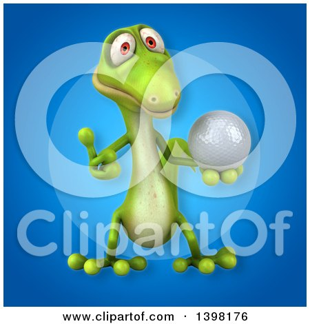 Clipart of a 3d Green Gecko Lizard Holding a Golf Ball - Royalty Free Illustration by Julos
