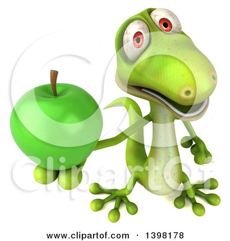 Clipart of a 3d Green Gecko Lizard Holding a Green Apple, on a White Background - Royalty Free Illustration by Julos