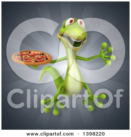 Clipart of a 3d Green Gecko Lizard Holding a Pizza - Royalty Free Illustration by Julos