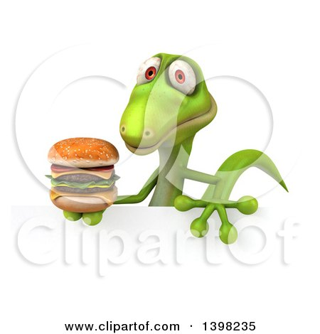 Clipart of a 3d Green Gecko Lizard Holding a Double Cheeseburger, on a White Background - Royalty Free Illustration by Julos