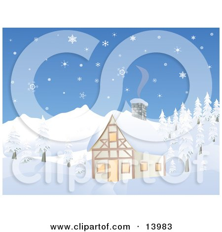 Chalet House in a Snowy Mountain Area Posters, Art Prints