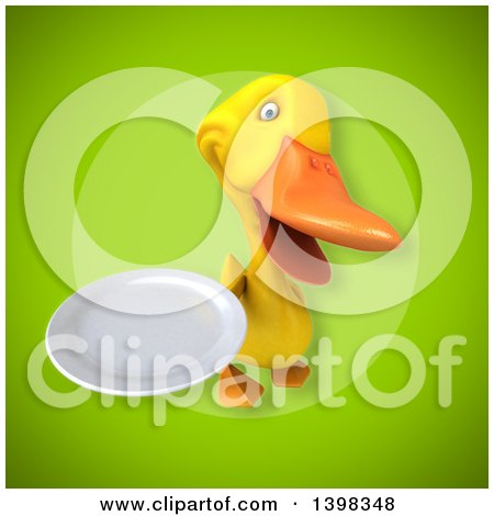Clipart of a 3d Yellow Duck Holding a Plate - Royalty Free Illustration by Julos