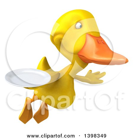 Clipart of a 3d Yellow Duck Holding a Plate, on a White Background - Royalty Free Illustration by Julos