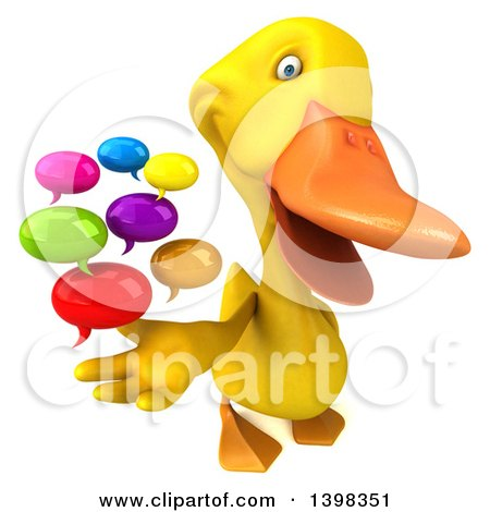 Clipart of a 3d Yellow Duck Holding Speech Balloons, on a White Background - Royalty Free Illustration by Julos