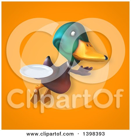 Clipart of a 3d Mallard Drake Duck Holding a Plate - Royalty Free Illustration by Julos