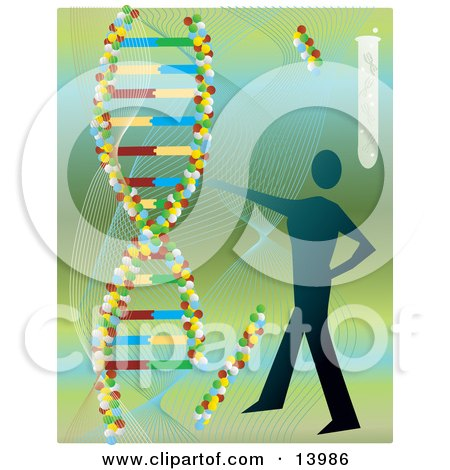 Royalty-free science clipart picture of a human silhouette and DNA double
