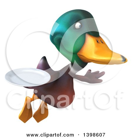 Clipart of a 3d Mallard Drake Duck Holding a Plate, on a White Background - Royalty Free Illustration by Julos