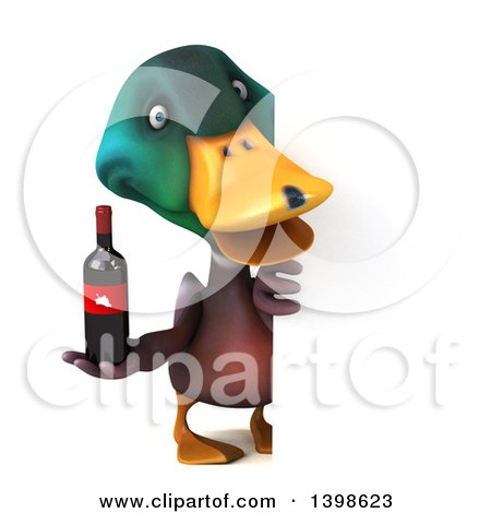 Clipart of a 3d Mallard Drake Duck Holding a Bottle of Wine, on a ...