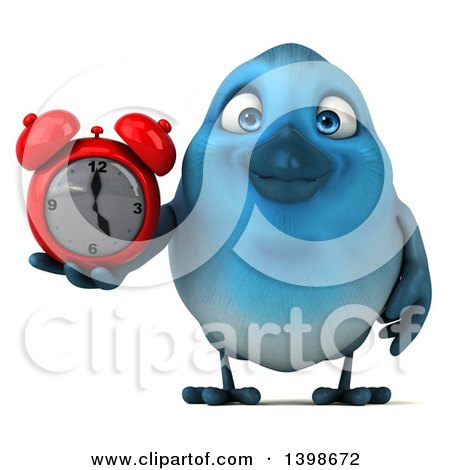 Clipart of a 3d Blue Bird Holding an Alarm Clock, on a White Background - Royalty Free Illustration by Julos