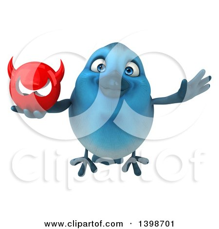 Clipart of a 3d Blue Bird Holding a Devil Head, on a White Background - Royalty Free Illustration by Julos