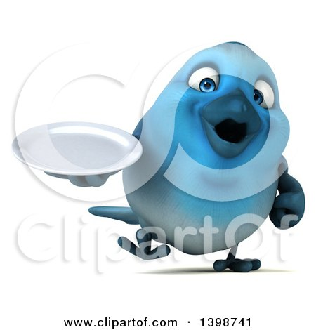 Clipart of a 3d Blue Bird Holding a Plate, on a White Background - Royalty Free Illustration by Julos