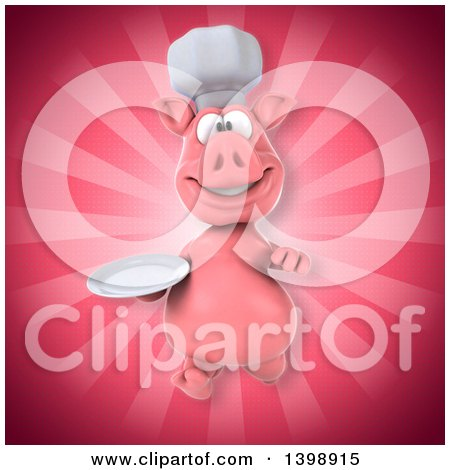 Clipart of a 3d Chef Pig, on a Pink Background - Royalty Free Illustration by Julos