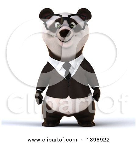Clipart of a 3d Business Panda, on a White Background - Royalty Free Illustration by Julos