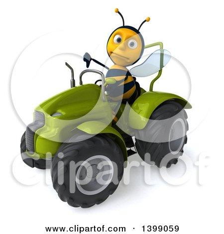 Clipart of a 3d Male Bee, on a White Background - Royalty Free Illustration by Julos