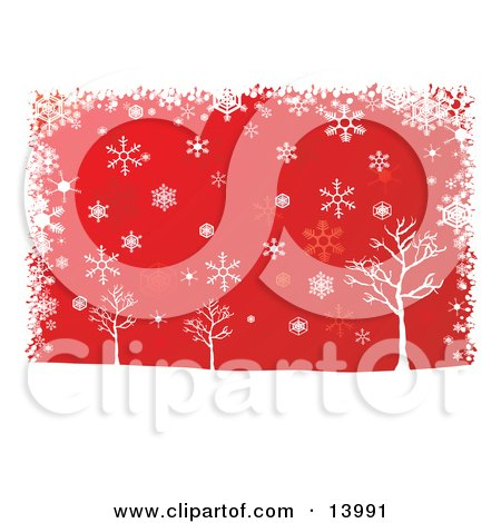 Winter Snowflakes Falling Over Bare Trees on a Red Background Clipart Illustration by Rasmussen Images