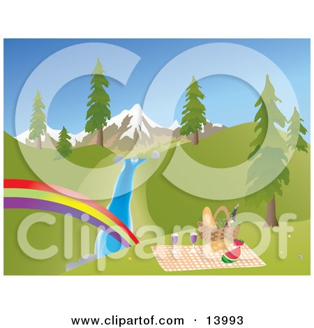 Picnic Basket, Food and Blanket on a Hill Overlooking a Rainbow, Stream, Trees and Snow Capped Mountains Posters, Art Prints