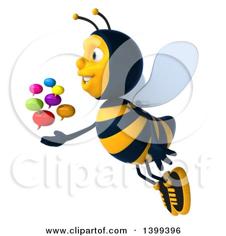 Clipart of a 3d Male Bee with Speech Balloons, on a White Background - Royalty Free Illustration by Julos