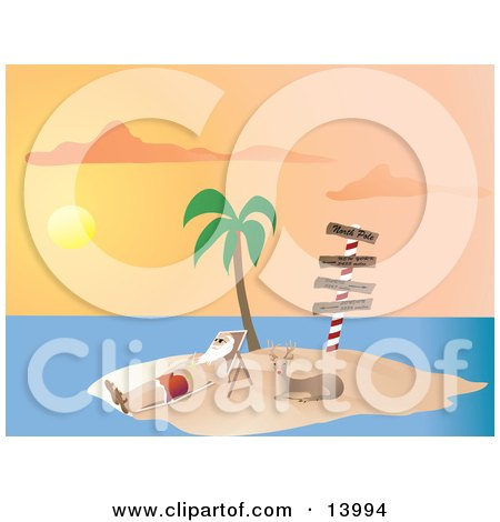 Santa Claus Vacationing and Relaxing on a Lounge Chair Beside Rudolph Under a Palm Tree on a Tropical Island at Sunset Clipart Illustration by Rasmussen Images