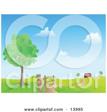 Road Winding Along a Fence by a Tree, Leading to a Red Barn in the Distance on a Hilly Landscape Clipart Illustration by Rasmussen Images
