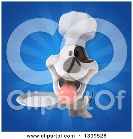 Clipart of a 3d Chef Jack Russell Terrier Dog over Rays - Royalty Free Illustration by Julos