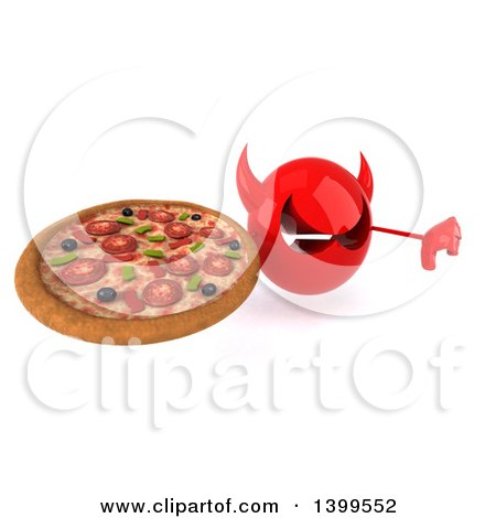 Clipart of a 3d Red Devil Head, on a White Background - Royalty Free Illustration by Julos