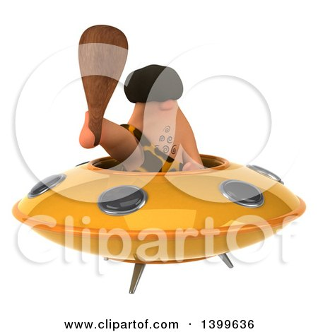 Clipart of a 3d Caveman Flying a Ufo, on a White Background - Royalty Free Illustration by Julos