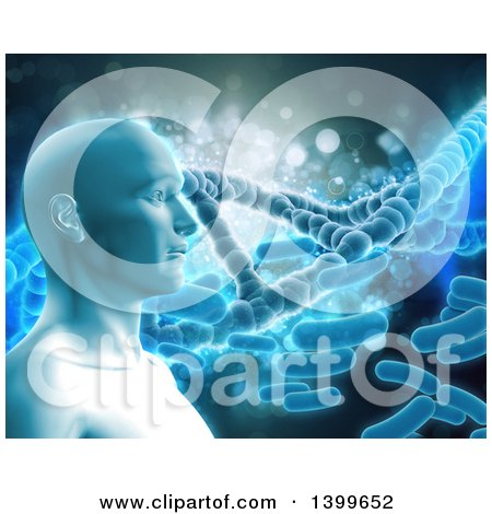 Clipart of a 3d Male Human Head over Bacteria and Dna Strands - Royalty Free Illustration by KJ Pargeter