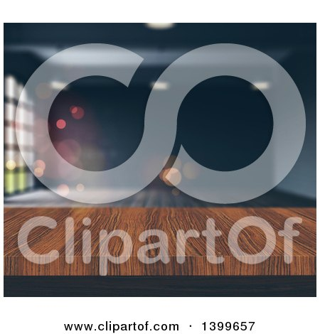 Clipart of a 3d Wood Table and Blurred Gray Room - Royalty Free Illustration by KJ Pargeter