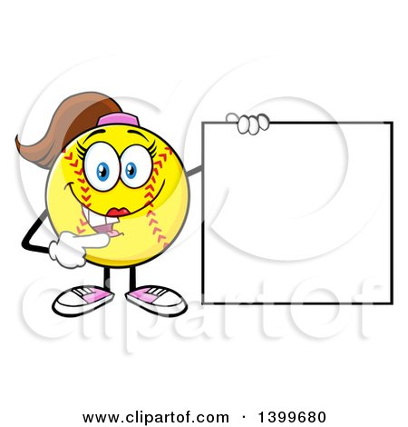 Clipart of a Cartoon Female Softball Character Mascot Pointing to a Blank Sign - Royalty Free Vector Illustration by Hit Toon