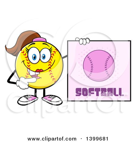 Clipart of a Cartoon Female Softball Character Mascot Pointing to a Sign - Royalty Free Vector Illustration by Hit Toon
