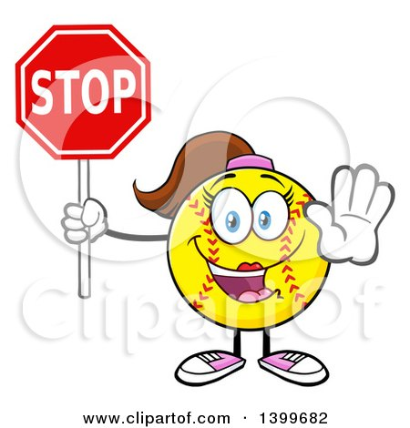 Clipart of a Cartoon Female Softball Character Mascot Holding a Stop Sign - Royalty Free Vector Illustration by Hit Toon