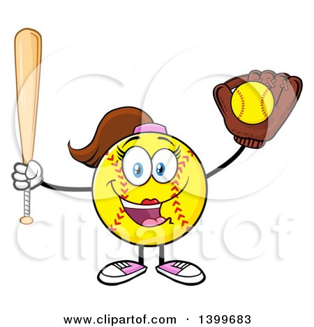 Clipart of a Cartoon Female Softball Character Mascot Holding a Bat and Ball in a Glove - Royalty Free Vector Illustration by Hit Toon