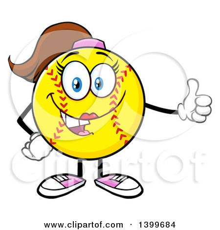 Clipart of a Cartoon Female Softball Character Mascot Giving a Thumb up - Royalty Free Vector Illustration by Hit Toon