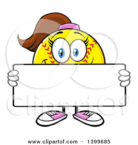 Clipart of a Cartoon Female Softball Character Mascot Holding a Blank Sign - Royalty Free Vector Illustration by Hit Toon