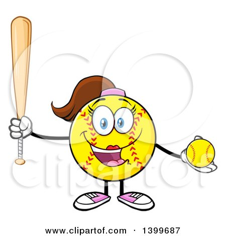 Clipart of a Cartoon Female Softball Character Mascot Holding a Bat and Ball - Royalty Free Vector Illustration by Hit Toon